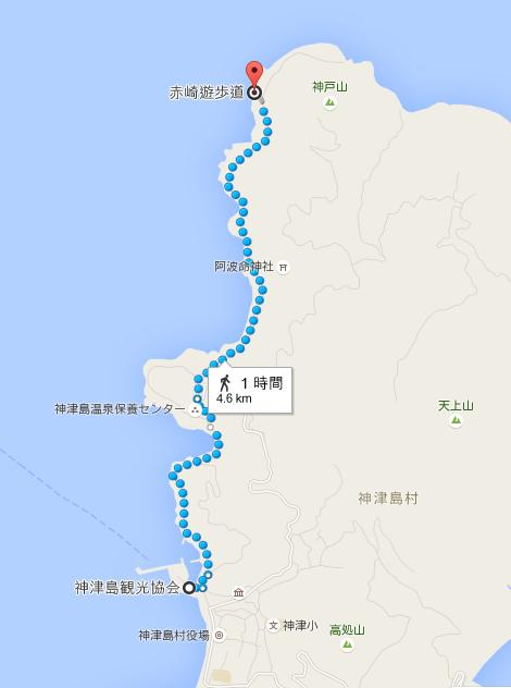 神津島観光協会 から 赤崎遊歩道   Google マップ