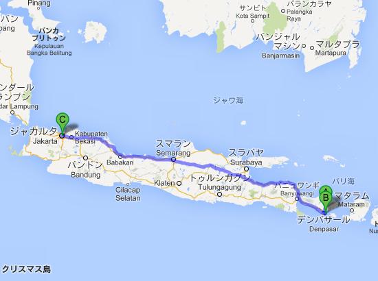 インドネシア バリ島 ギャニャール Ubud  ウブド から インドネシア ジャカルタ   Google マップ
