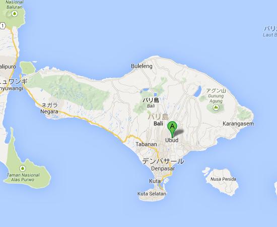 インドネシア バリ島 ギャニャール Ubud  ウブド   Google マップ
