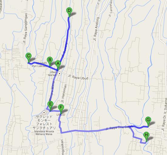 Ubud Palace から Petanu River Villa   Google マップ