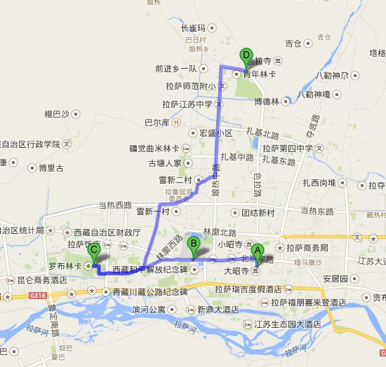 ジョカン から 色拉寺站   Google マップ