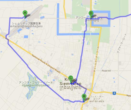 シェムリアップ国際空港 から Cambodia Landmine Museum   Google マップ