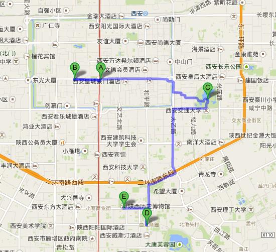 西安鐘楼 から 狭西暦史博物館   Google マップ