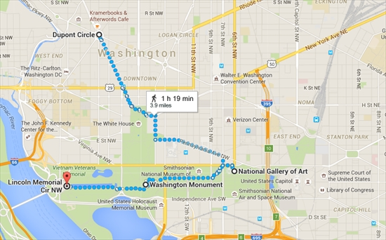 Dupont Circle to Lincoln Memorial Cir NW   Google Maps_R