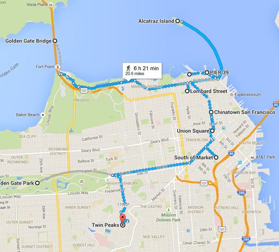 Fisherman s Wharf to Twin Peaks   Google Maps