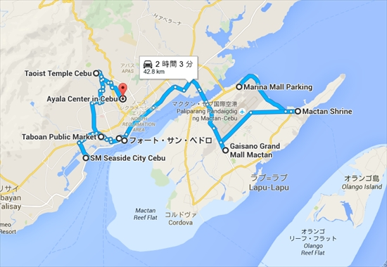 Marina Mall Parking から Ayala Center in Cebu   Google マップ_R