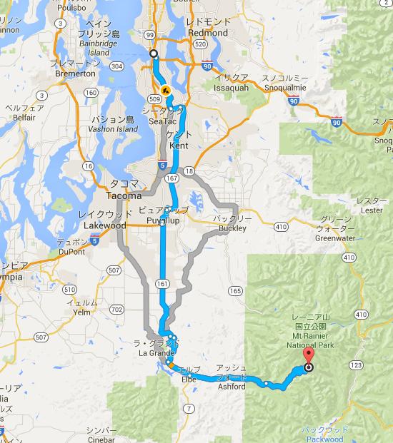 ワシントン州 シアトル から ワシントン州 パラダイス   Google マップ