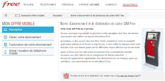 Borne d'abonnement et de distribution de cartes SIM Free   Assistance Free Mobile