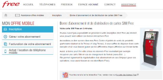 Borne d'abonnement et de distribution de cartes SIM Free   Assistance Free Mobile