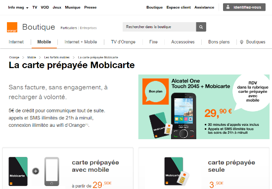 Carte prépayée Mobicarte sans engagement   Orange mobile