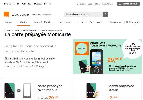 Carte prépayée Mobicarte sans engagement   Orange mobile