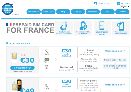 All offers for France from LeFrenchMobile