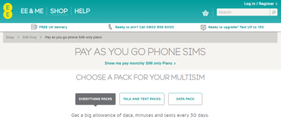 Pay As You Go SIM   SIM Only Deals   Plans   EE