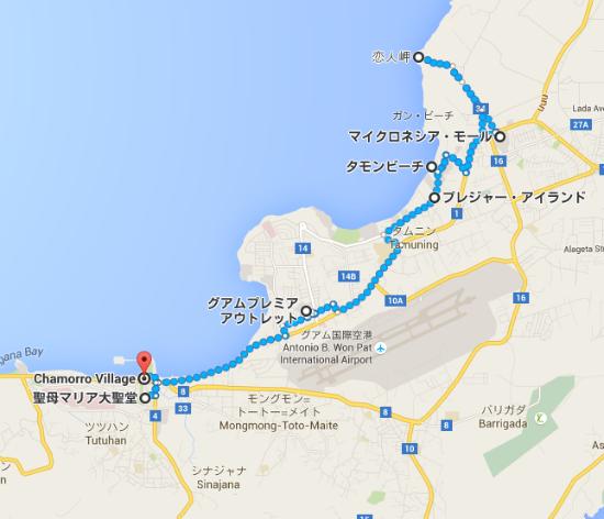 タモンビーチ から Chamorro Village   Google マップ