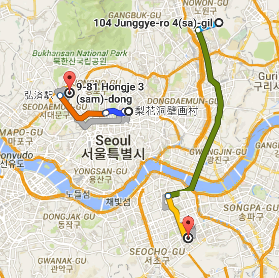104 Junggye dong Seoul South Korea から 九龍駅 Google マップ