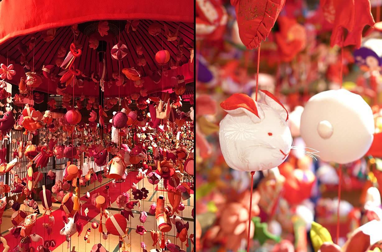 雛壇の横に飾られる傘福